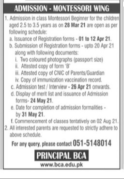Bahria College Naval Anchorage Admissions 2021