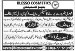 Blesso Cosmetics Jobs 2021 for TSO, Order Booker & Export Manager Latest