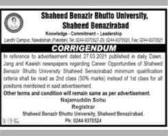 Teaching Jobs in Shaheed Benazir Bhutto University Re-Advertisement