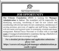 The Citizen Foundation Jobs 2021 for Manager Administration Latest Sukkur