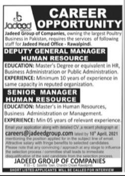 Latest Private Jobs in Rawalpindi - Jadeed Group of Companies Advertisement 2021