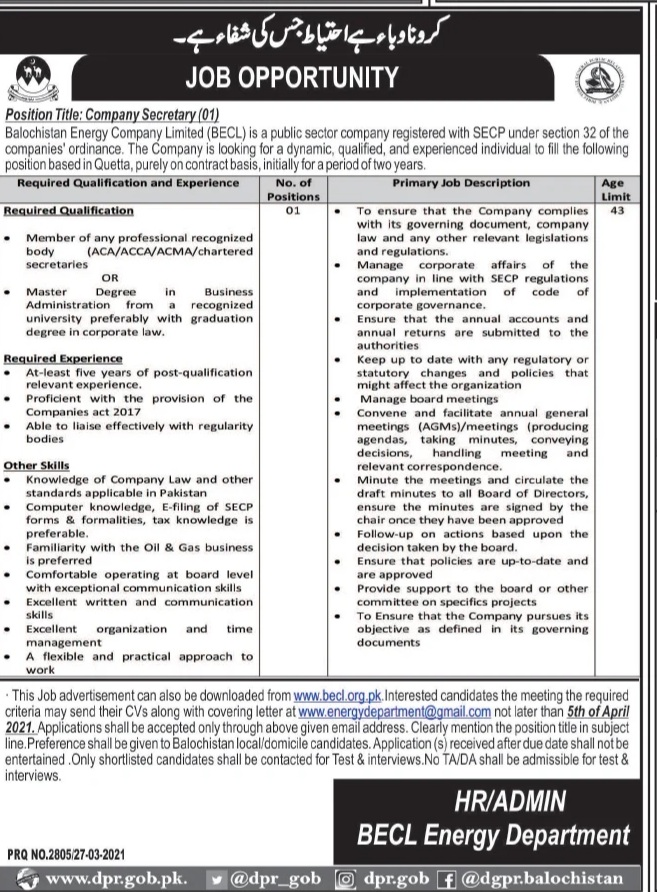 Govt Jobs in Balochistan - Balochistan Energy Company Limited (BECL)