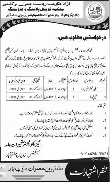 Govt Jobs in Azad Jammu & Kashmir Physical Planning & Housing Department 2021 Advertisement