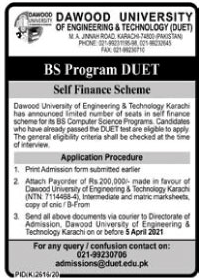 Dawood University Of Engineering & Technology(BS Program) Admissions 2021