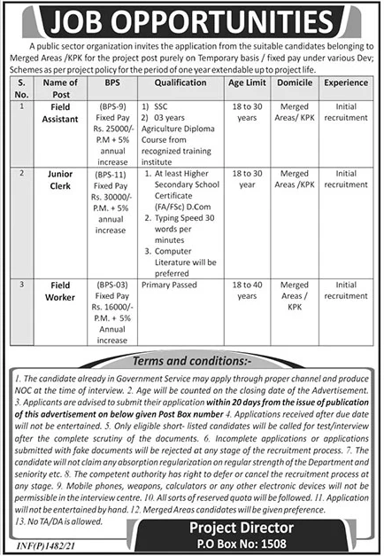 PO Box No 1508 Jobs 2021-Public Sector Organization Advertisement