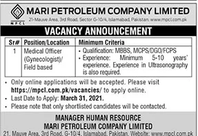 www.mpcl.com.pk Jobs 2021 Apply Online Mari Petroleum Company Limited