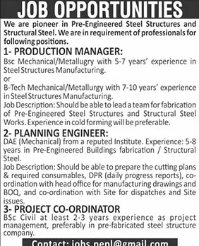 Private Jobs in Pre-Engineered Steel Company 2021 Ads