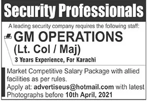 Private Jobs in Pakistan - Security Professional 2021 Advertisement