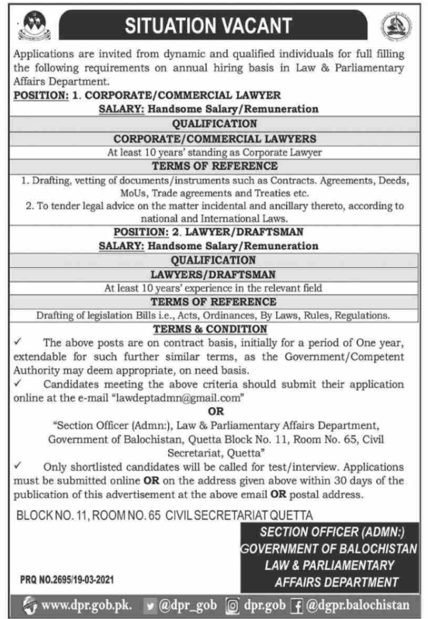 Balochistan Law & Parliamentary Affairs Department Jobs 2021 Apply Online Latest