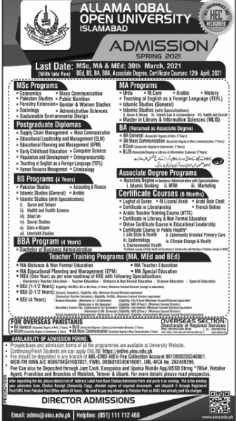 Allama Iqbal Open University Admissions 2021