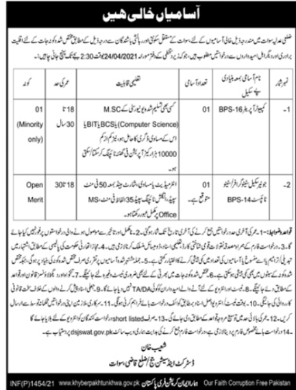 District & Session Court/Zilla Qazi Swat Jobs 2021 Application Form