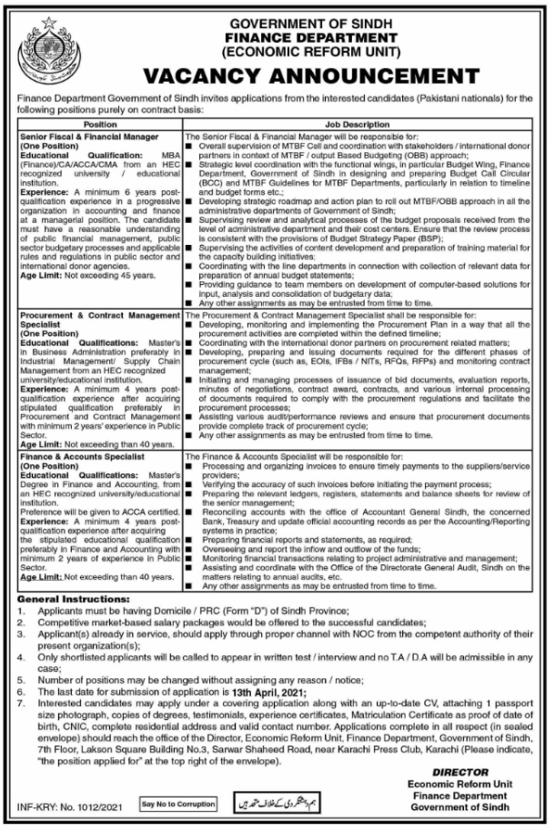 Government of Sindh Finance Department Jobs 2021