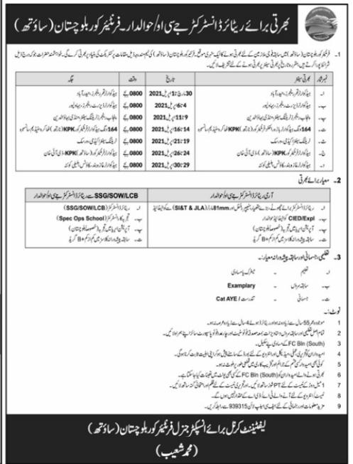 JCO/Hawaldar Jobs 2021 FC Balochistan (South) Advertisement