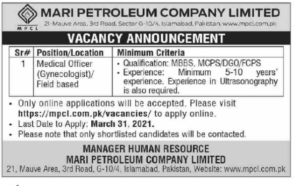 Mari Petroleum Company Jobs 2021