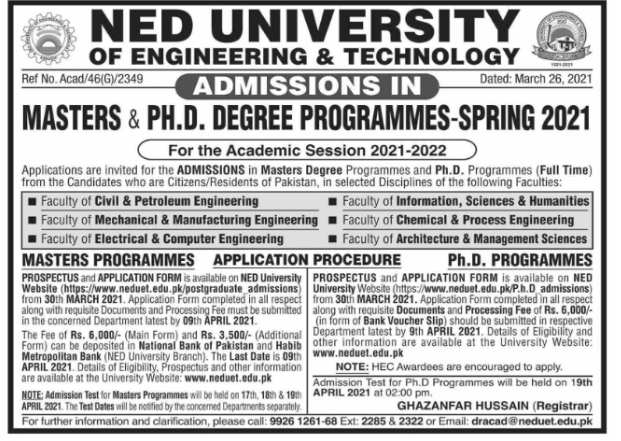 NED University of Engineering and Technology Admissions 2021