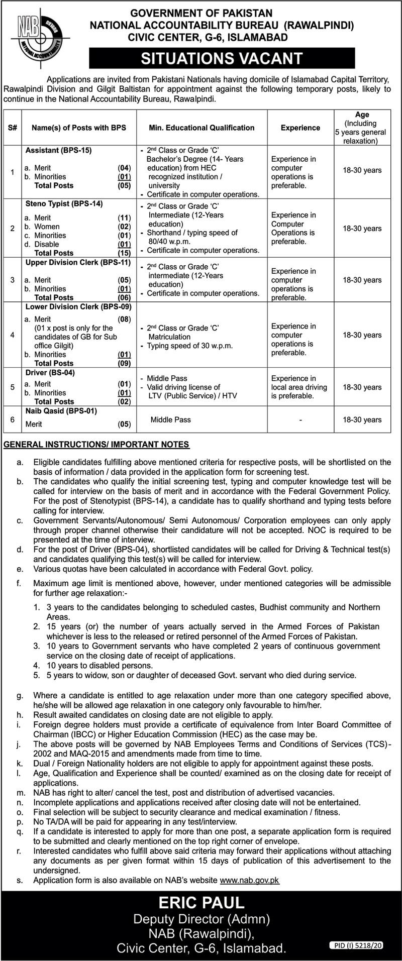 NAB Jobs 2021 Islamabad www.nab.gov.pk Application Form