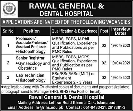 Rawal General & Dental Hospital Jobs 2021 Apply Online