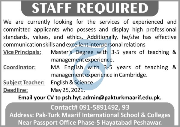 Pak- Turk Maarif International School & Colleges for Vice Principal, Coordinator & Subject Teacher April 2021 Advertisement