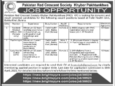 Pakistan Red Crescent Society Kpk Jobs Advertisement 2021