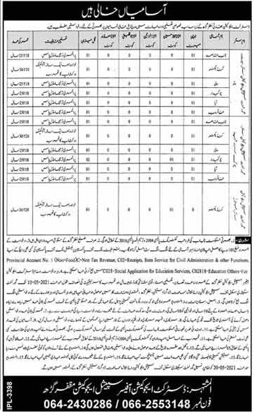 DEA Muzaffargarh Jobs 2021 Advertisement For Naib Qasid, Conductor, Aya & Others