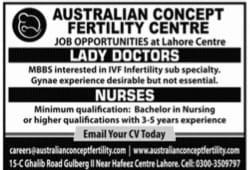 Australian Concept Fertility Centre Jobs 2021 Apply Online