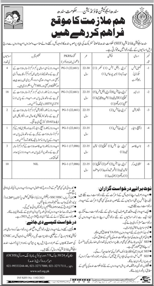 SEF Government of Sindh Jobs 2021 Application Form Latest