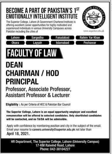 Superior College Law Lahore Admissions 2021