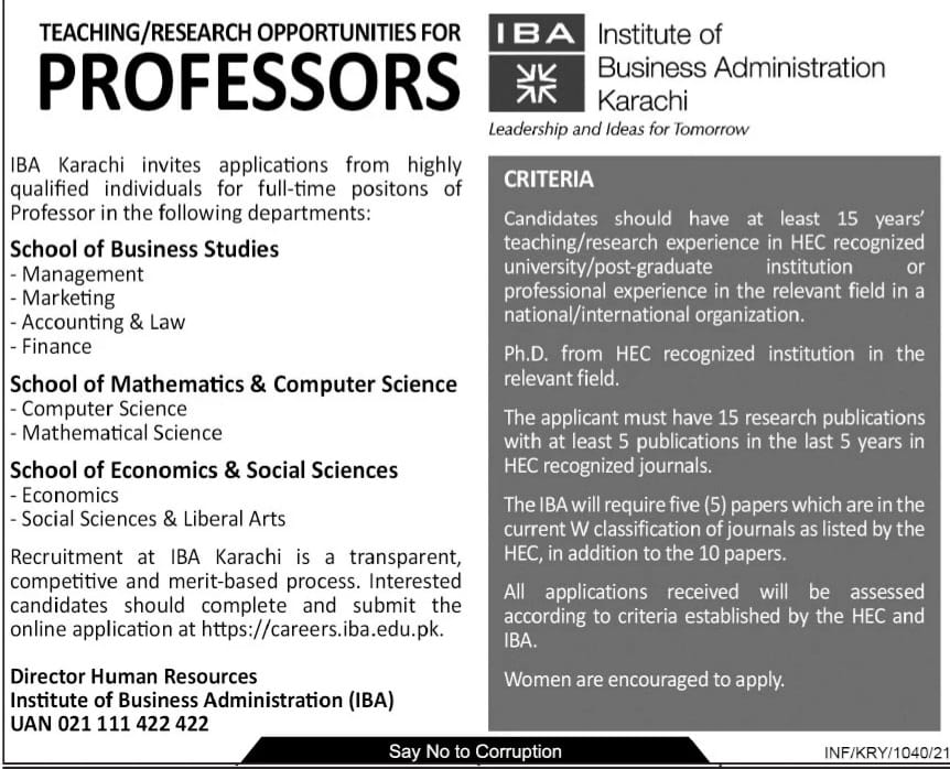 Institute Of Business Administration Karachi Admissions 2021
