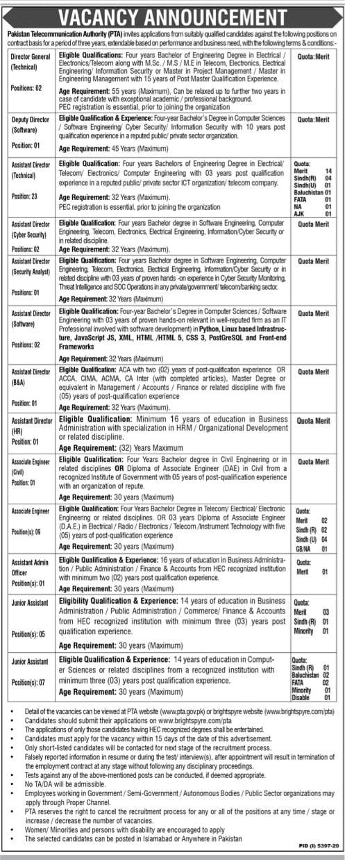 Pakistan telecommunication authority job