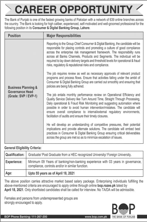 The bank of punjab jobs advertisement 2021