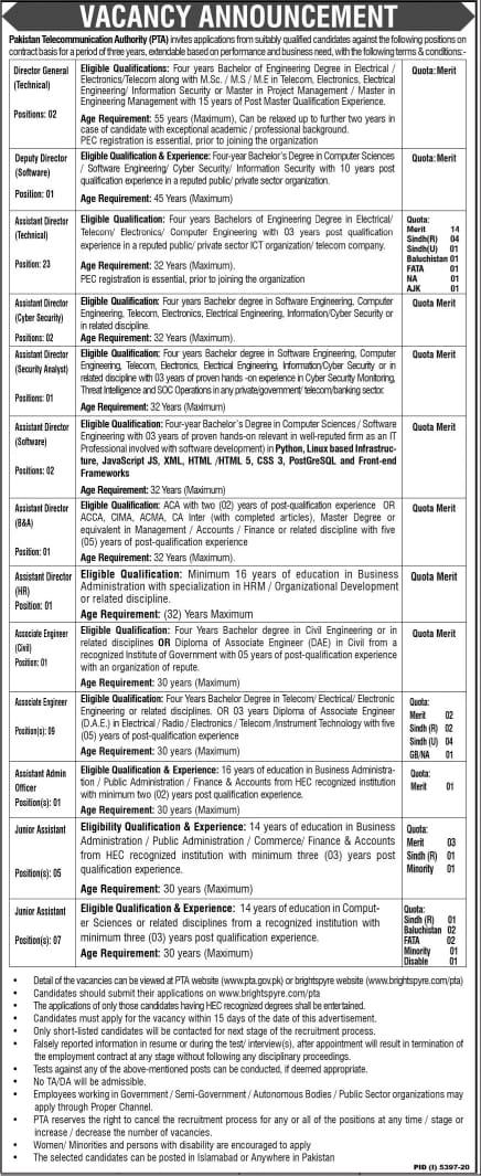 PTA Jobs 2021 April-Pakistan Telecommunication Authority Advertisement