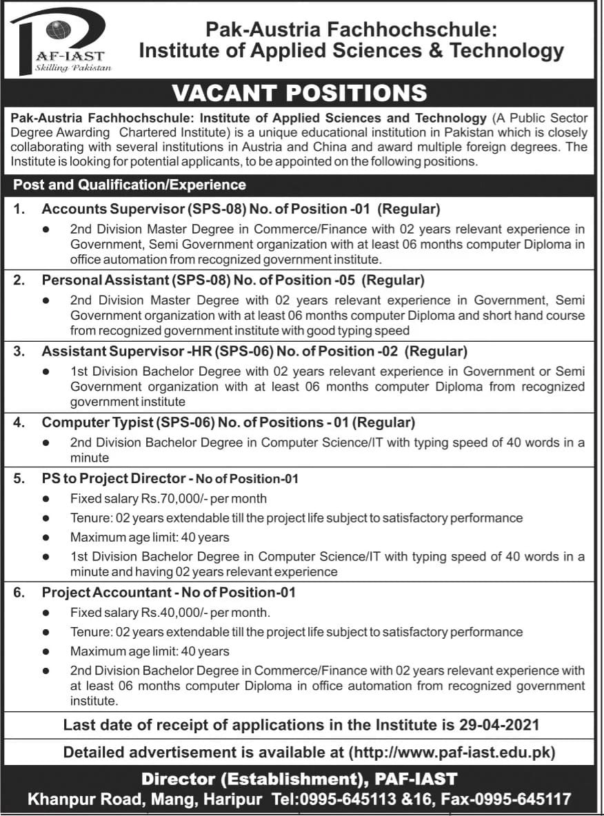Pak-Austria Fachhochschule Institute Of Applied Sciences & Technology Jobs 2021 Apply Online