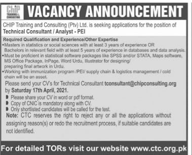Chip Training Consulting(Pvt)Ltd.(CTC)Jobs 2021 Apply Online