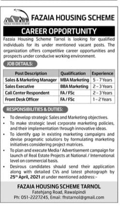 FHS Rwp Jobs April 2021 Advrts