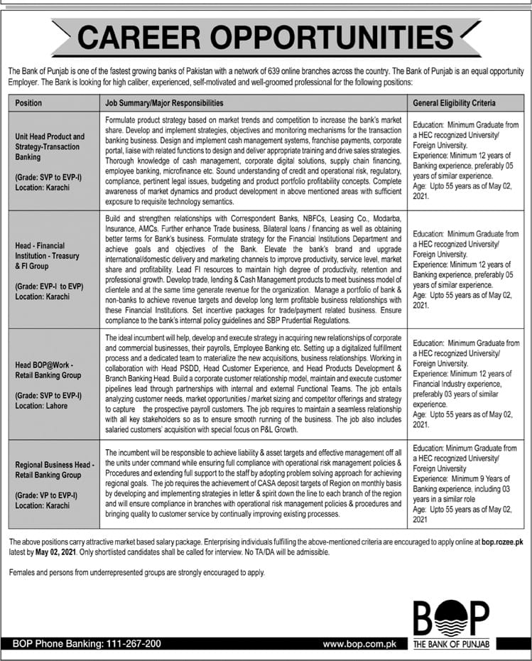 The Bank Of Punjab Career Opportunities For Unit Head Product and Strategy, Head Financial Institution, Regional Business Head & Retail Banking Group April 2021 Advertisement