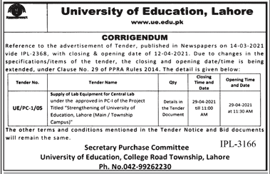 University of Education Lahore Jobs 2021