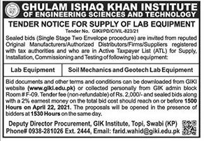 Ghulam ishaq khan Institute of Engineering sciences jobs 2021