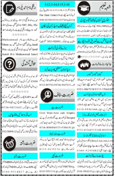 Today Mashriq Jobs April 2021 Classified Jobs Adv
