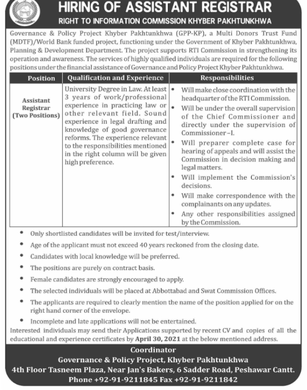 Governance and Policy projects Kpk Jobs 2021