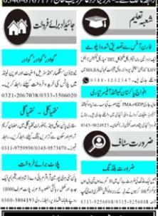 Today Mashriq  Jobs April 2021 Classified Jobs Adv