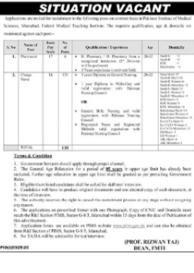 Pakistan Institute Of Medical sciences jobs 2021