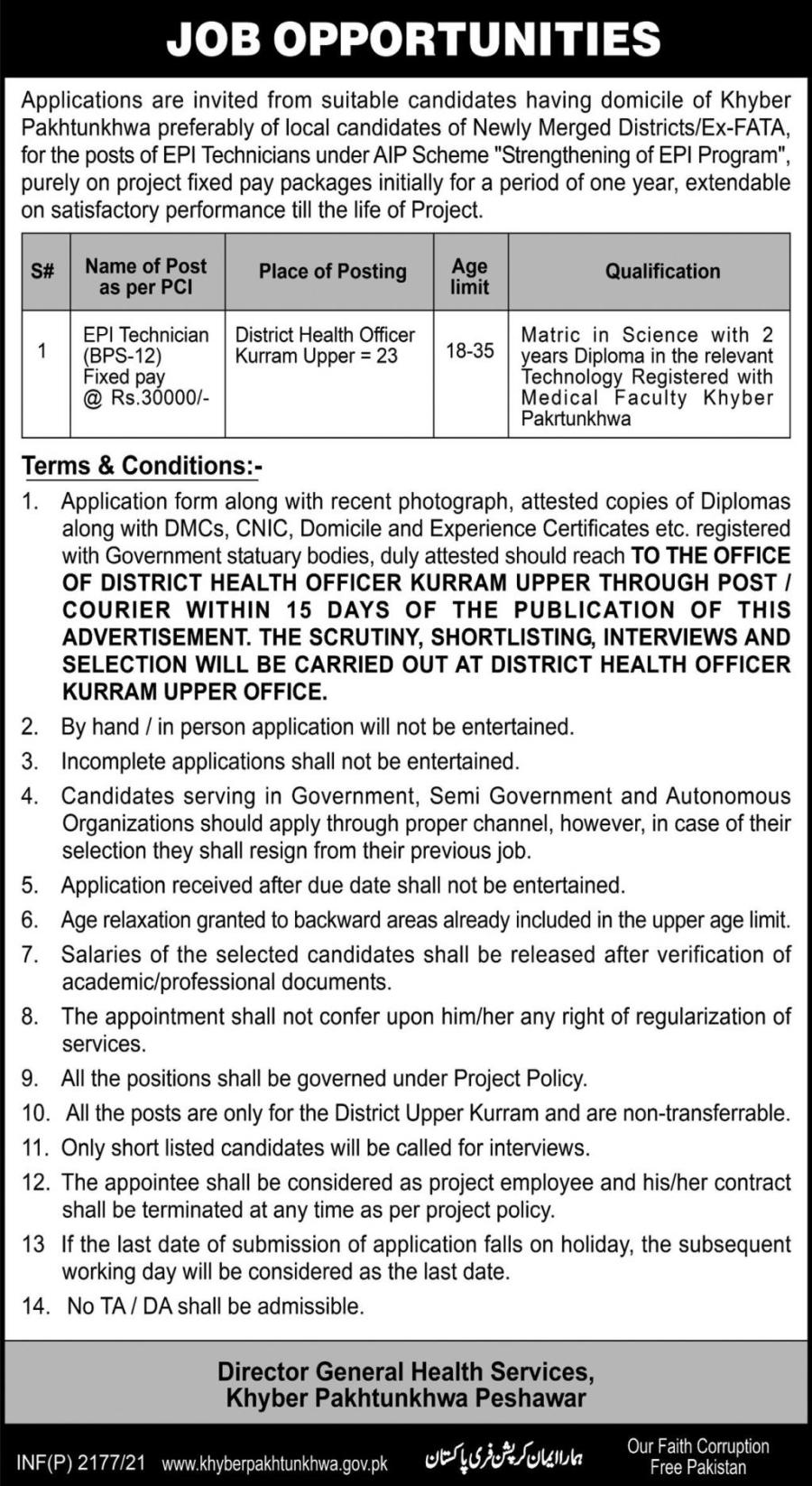 Director General Health services jobs 2021