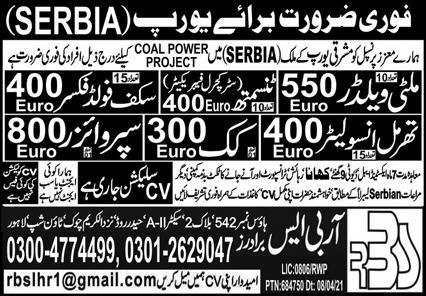 Serbia Jobs 2021 May For Welders, Cook, Supervisors & Others Latest