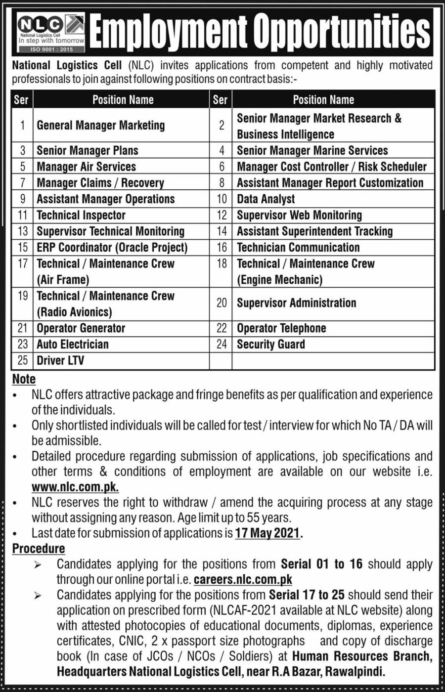 National logistics cell jobs 2021 latest advertisement