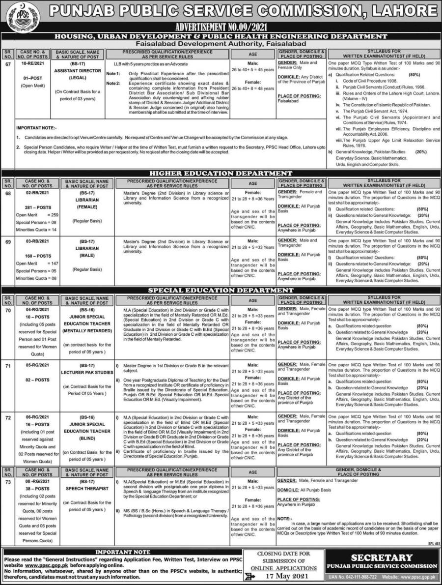 Punjab Public Service Commission Jobs 2021 Advertisement No.9/2021 Apply Online