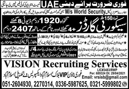 Islamabad UAE Jobs for Security Guards May 2021 Advertisement