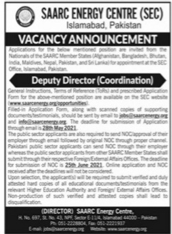 SAARC Energy Certre(SEC) Islamabad May Jobs 2021 For Deputy Director(Coordination) Apply Online