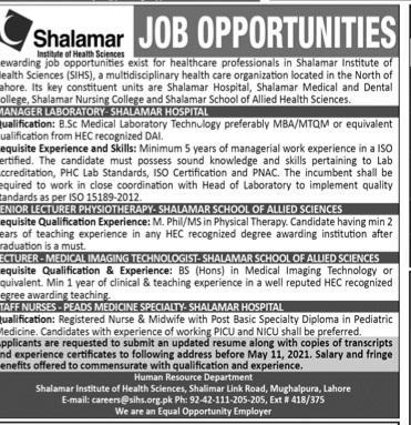 Shalamar Institute of health science jobs 2021
