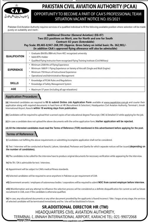 Karachi Jobs Pakisatan Civil Aviation Authority May 2021 Advertisement
