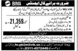 BIMA(MILVIK) Mobile Pakistan Lahore Jobs 2021 For Call Center Agents Apply Online
